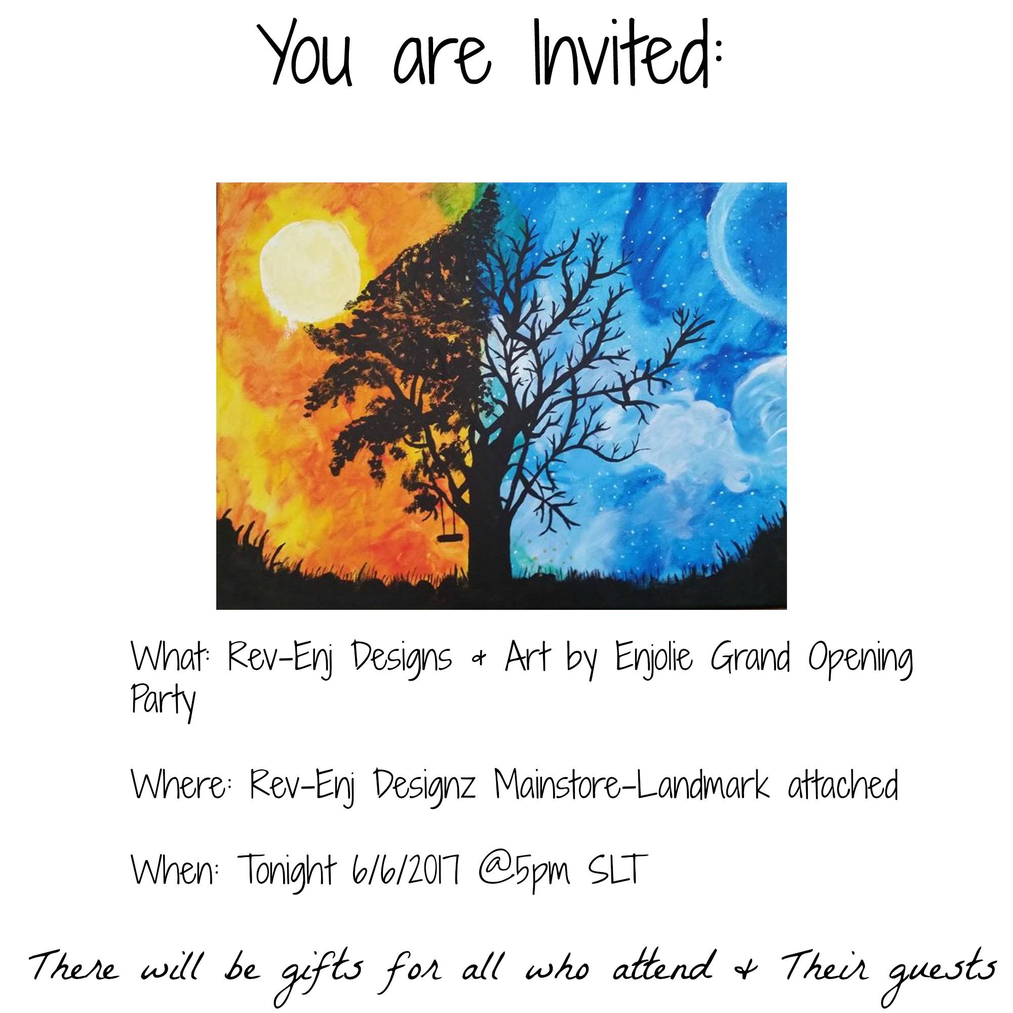 Uncategorized Enjolie art by enjolie grand opening party tonight 5pmslt 8pmslt artbyenjolieinviteopeningparty jpg