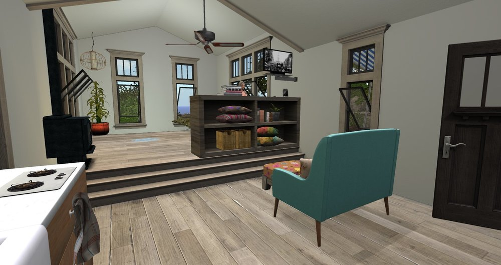 9.23 - Living rm area with bookcase & TV connected to wall_001.jpg