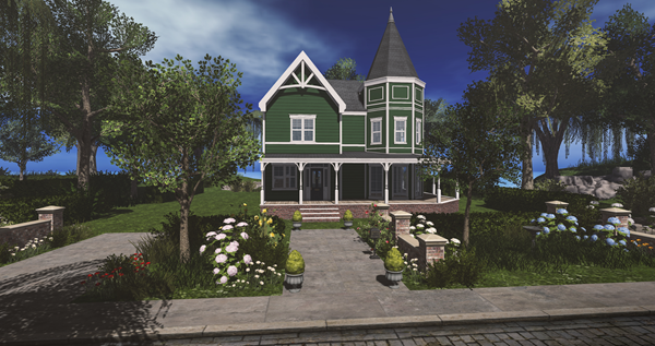 A green Victorian home with flower garden