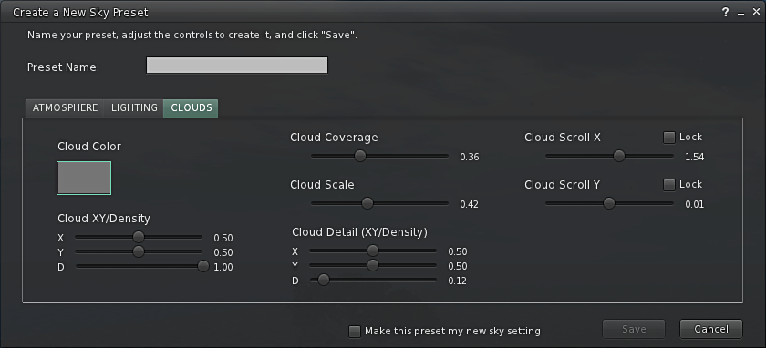 Create a New Sky Preset - Clouds Tab