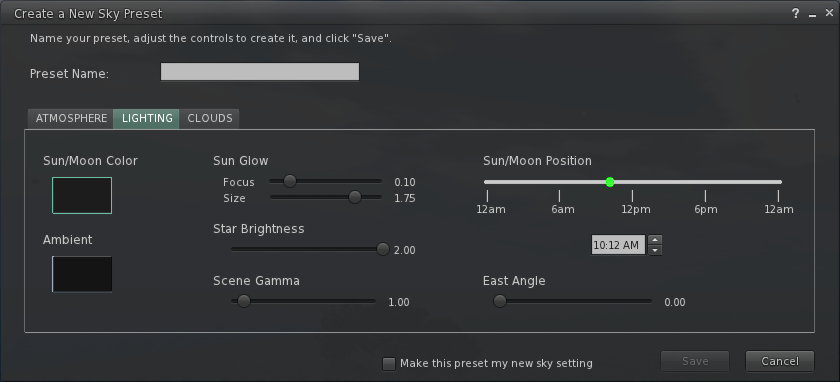 Create a New Sky Preset - Lighting Tab