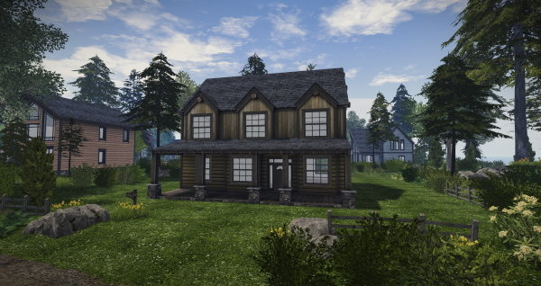 A two-story log home in forested neighborhood