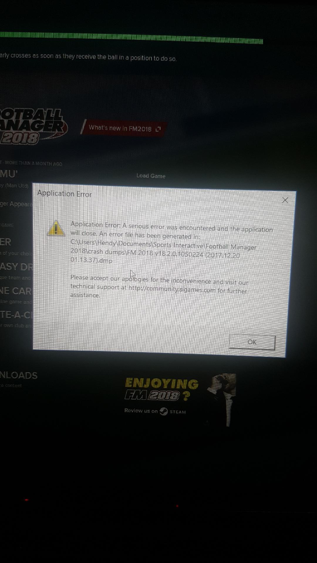 Steam Application Error