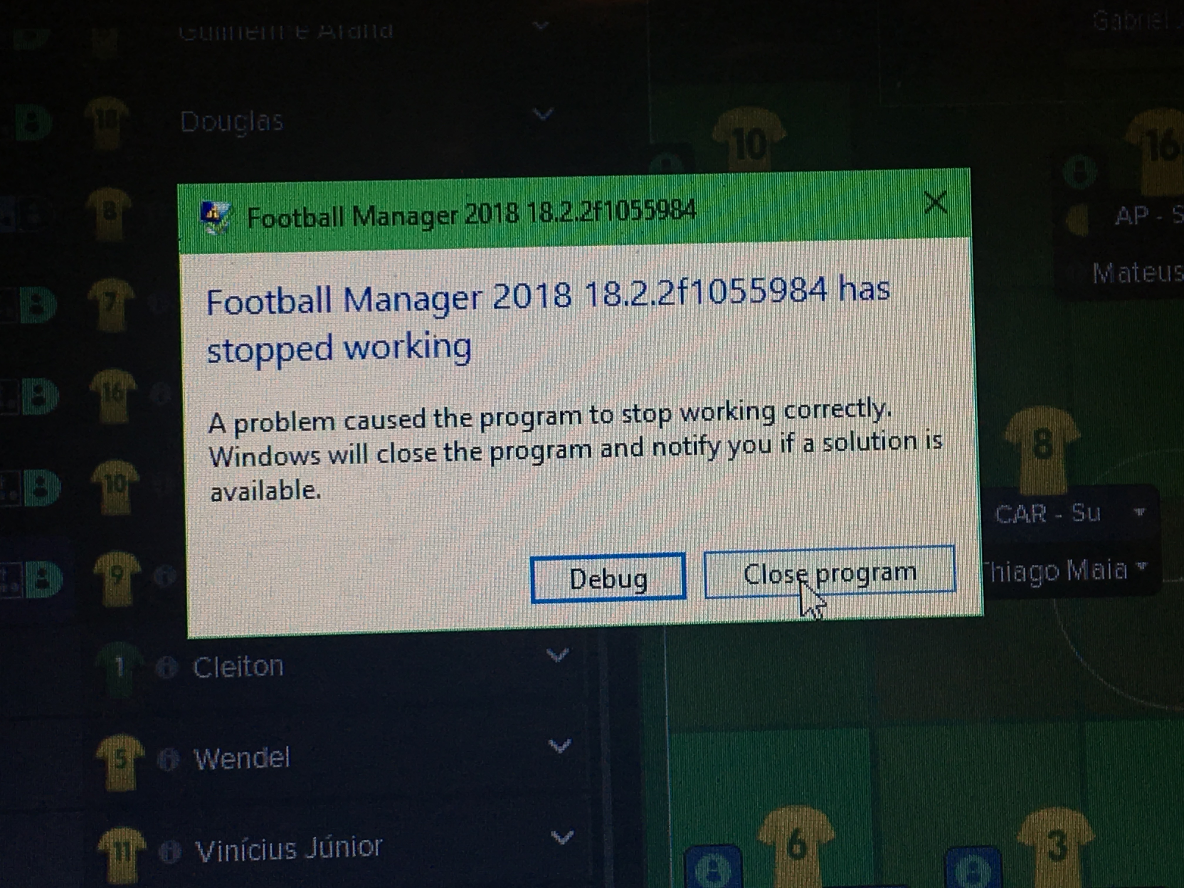 Football Manager 2018 18 2 2f1055984 has stopped working - Crashes