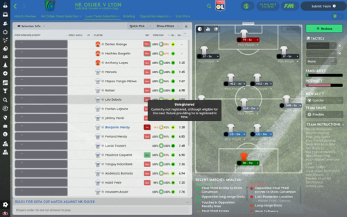 NK Osijek v Lyon_ Lyon Team Selection Overview.png