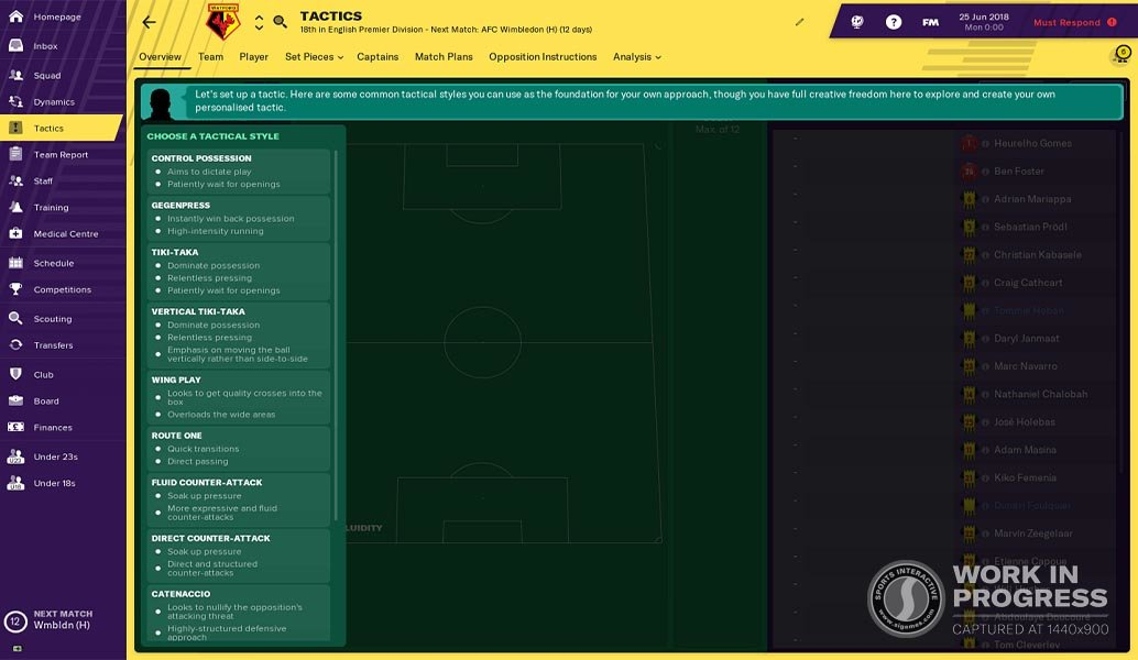 Football Manager 2019 Feature Blogs: Revamped Tactics Module