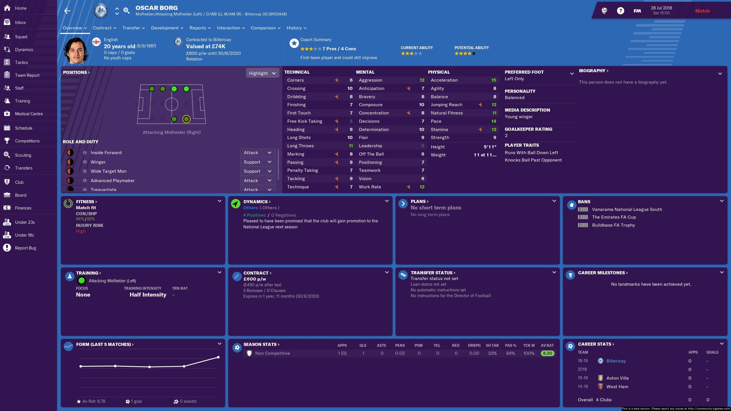 FM19: Vanarama National League - Players - Good Player