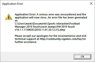 Application Error - Crashes and Technical Issues - Sports
