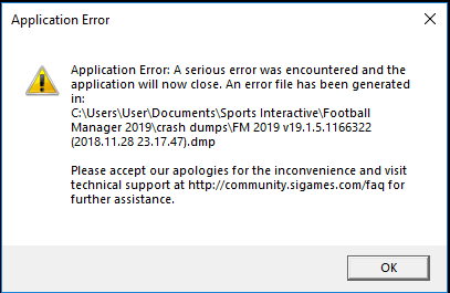 FM 2019 Error - Crashes and Technical Issues - Sports Interactive