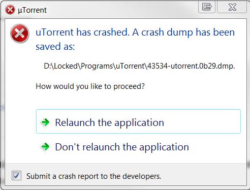 utorrent crash dump windows 10