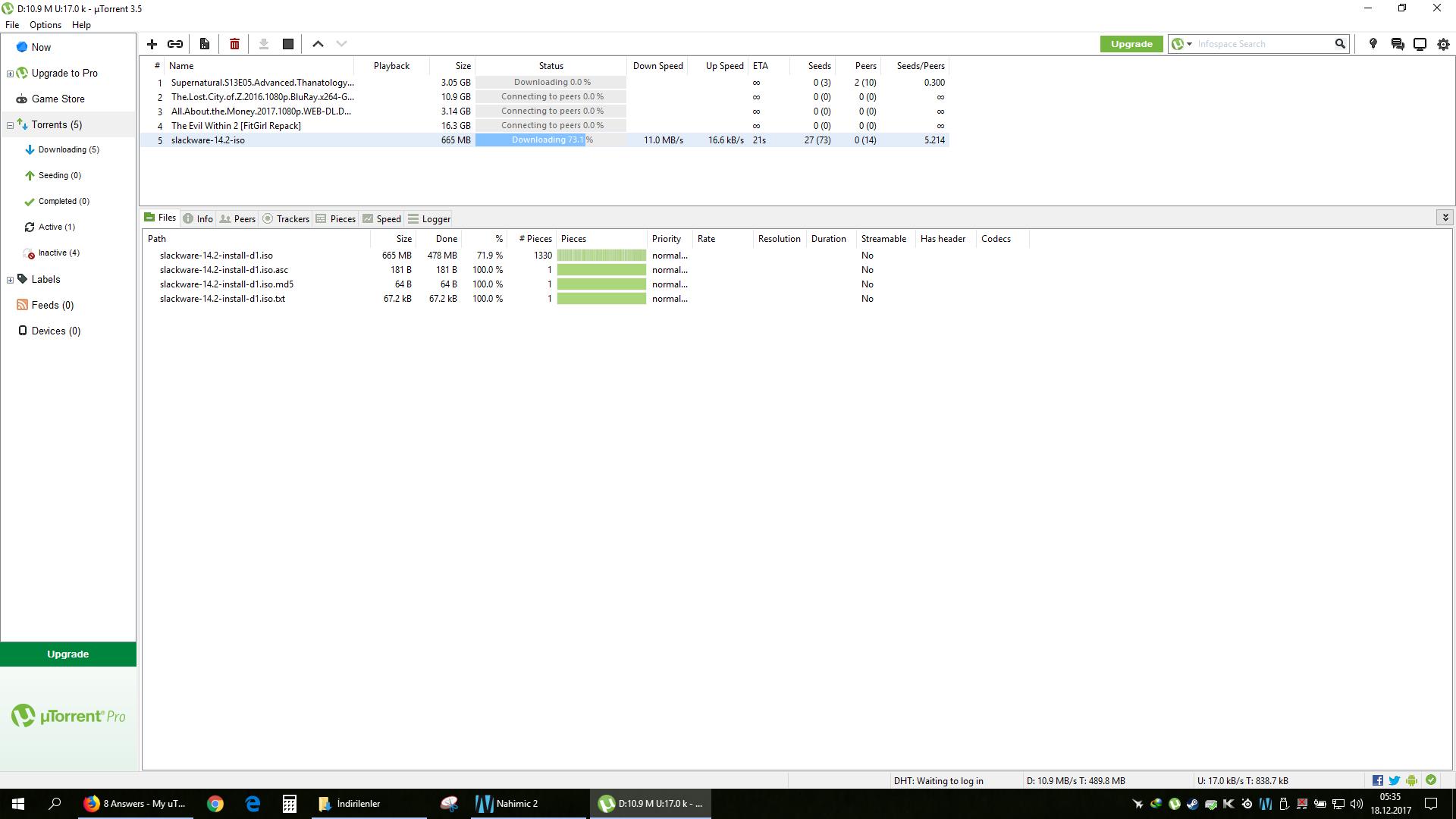 Can download slackware torrent but nothing else seems to