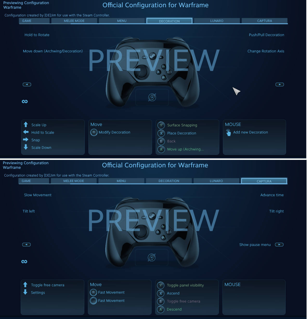 STEAM Controller UI Problems (Tenno customize, Starchart relic