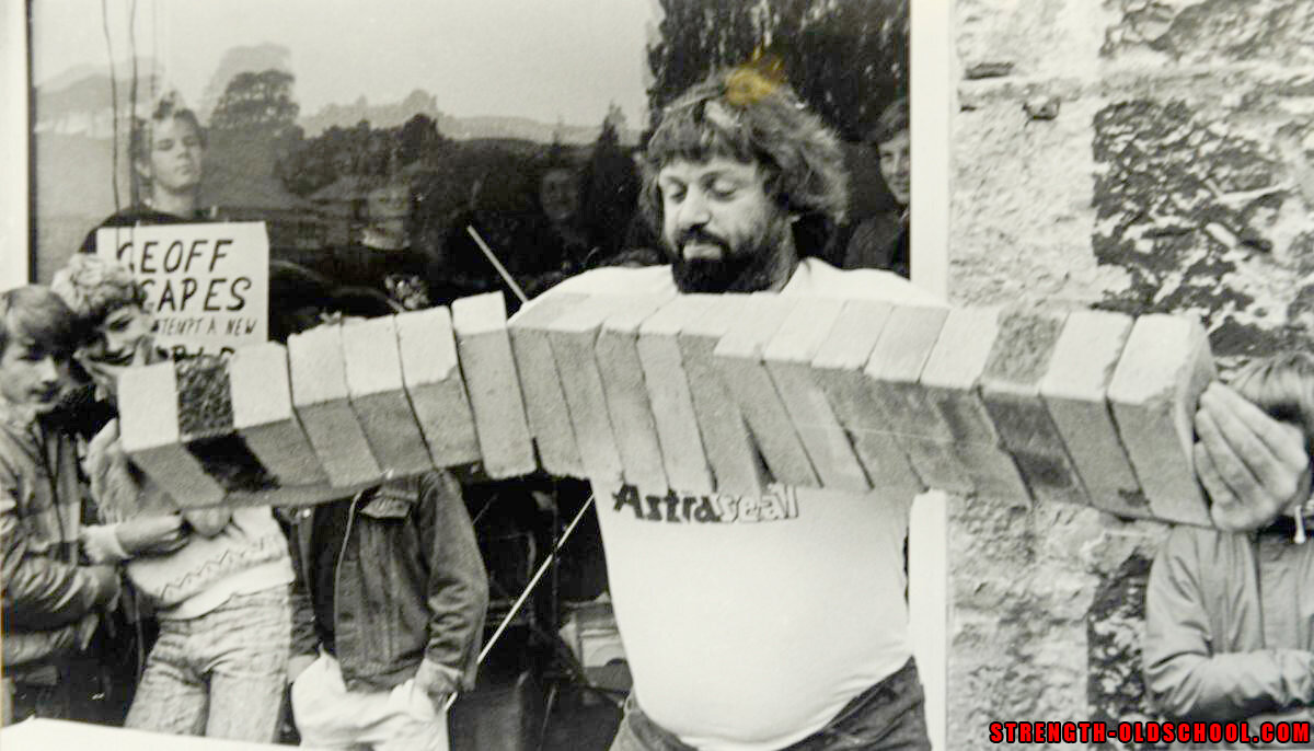 Strongman Geoff Capes - 1994 - Breaking a World Record by lifting a line of 20 building bricks