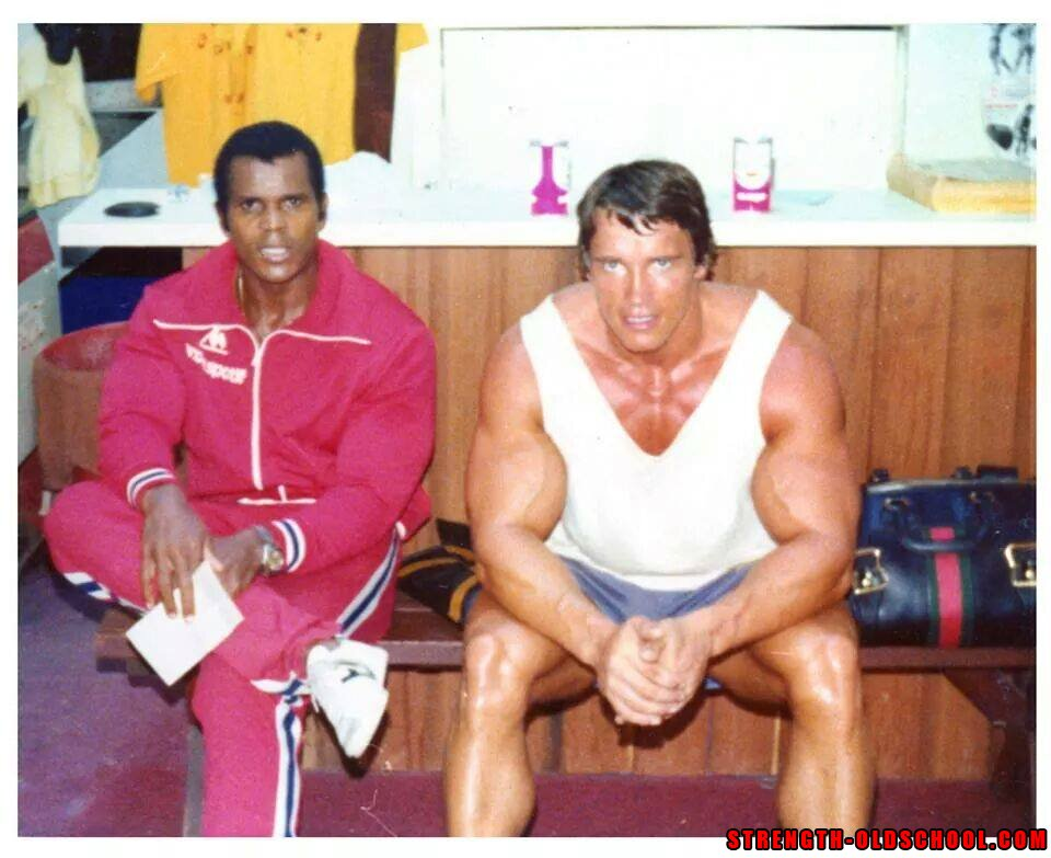 Rare Photo of Serge Nubret and Arnold Schwarzenegger