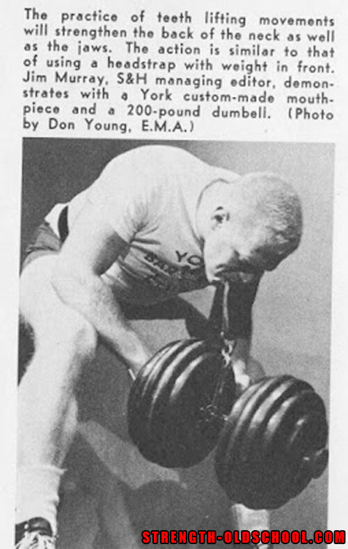 Jim Murray - Lifting a 200 lbs Dumbbell with his Teeth