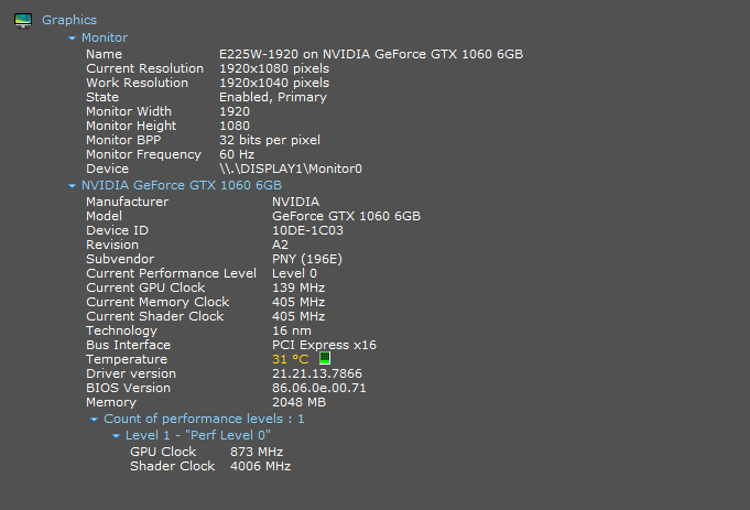 2GB Memory instead of 6GB for GTX 1060 6GB - Speccy Bug Reporting