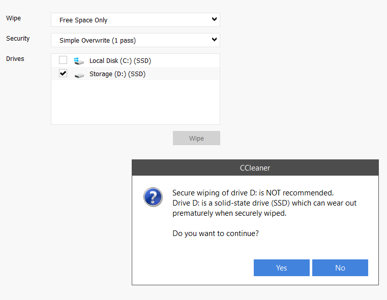 CCleaner falsely recognises my HDD as an SSD so refuses to