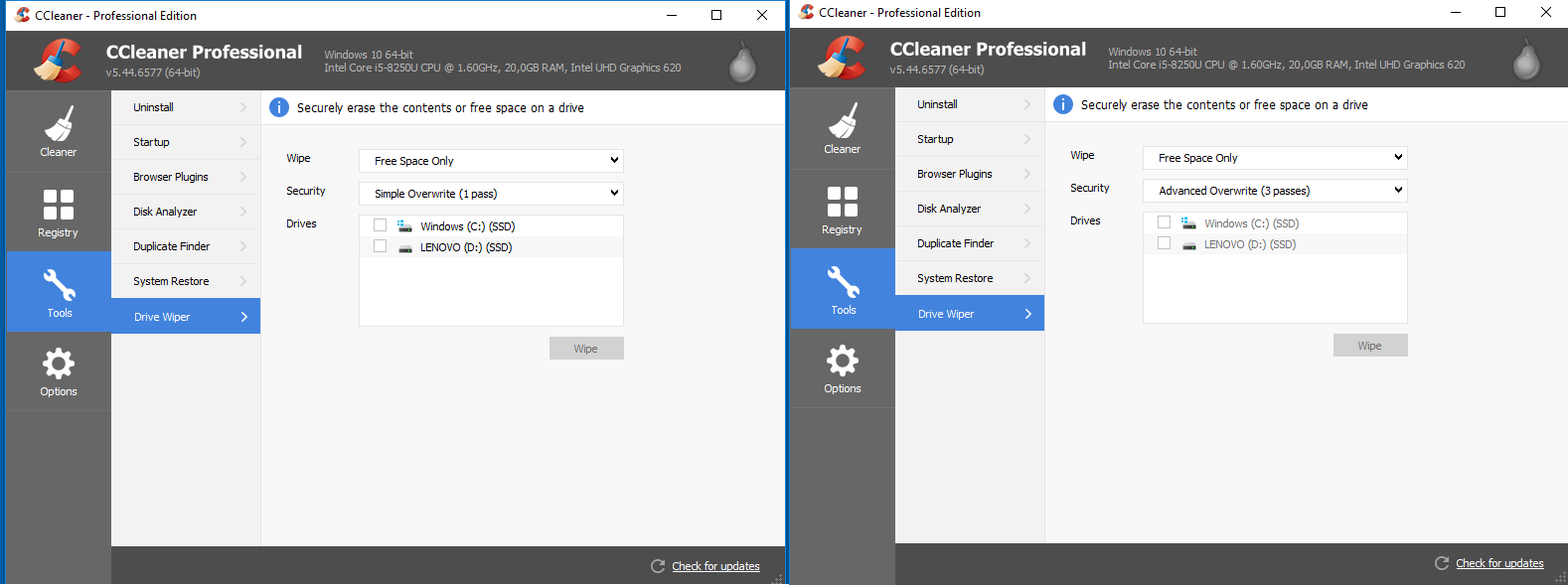problems with ccleaner and windows 10