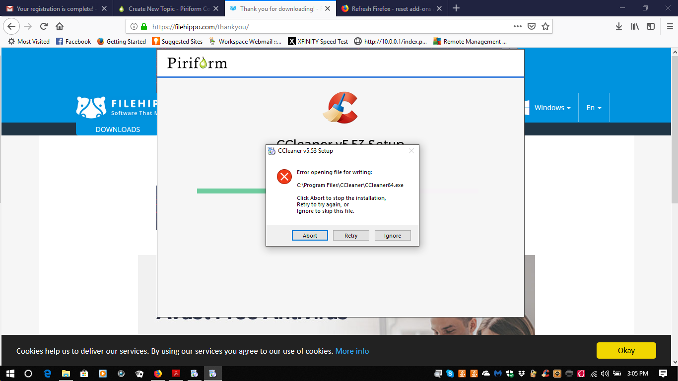 CCleaner 5 53 7034 has an error code when try to install