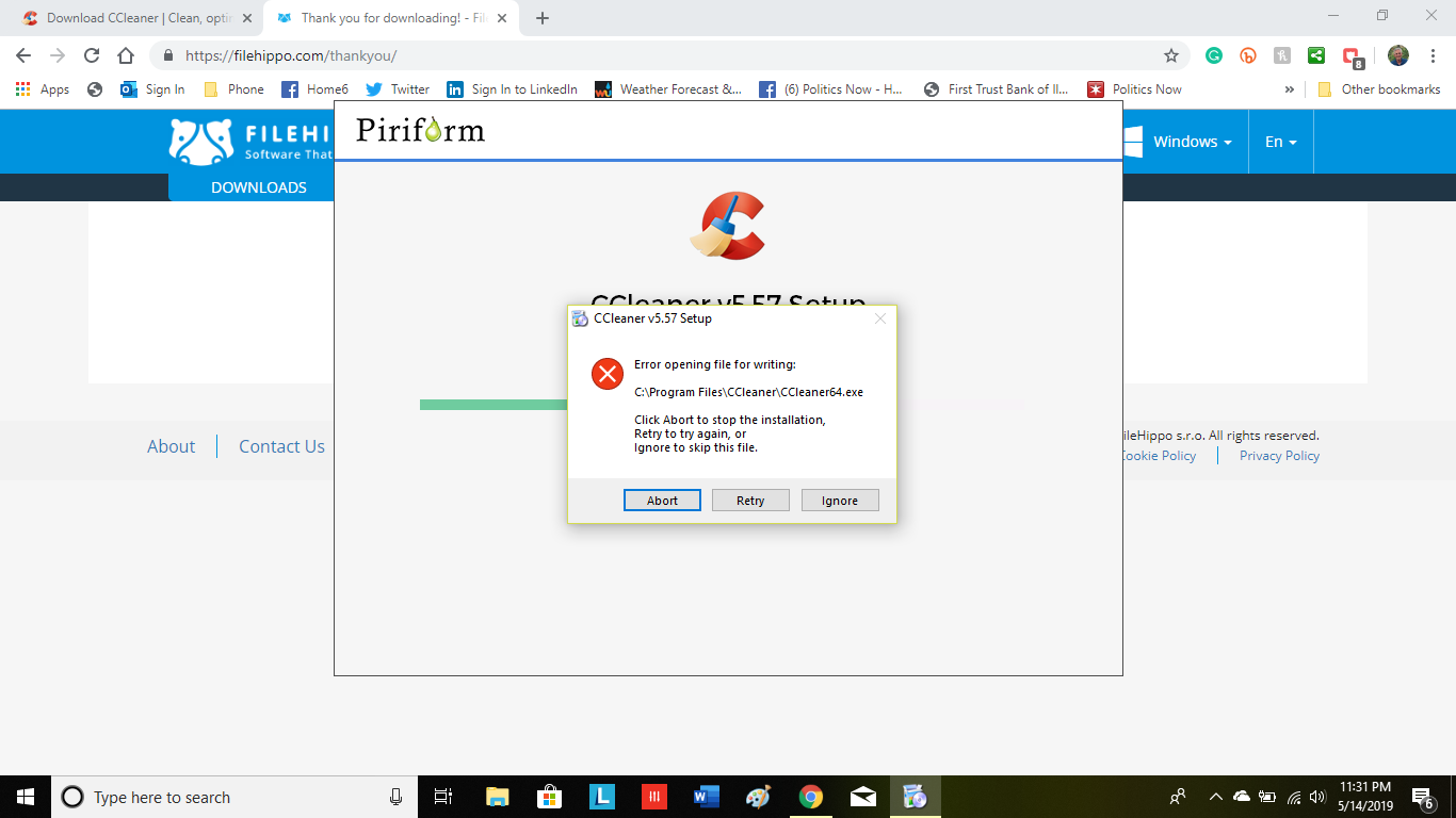 Update not working for Windows 10 - CCleaner Bug Reporting