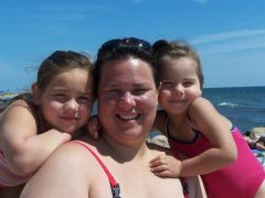This is a picture of me and my girls taken in August 2008 in Cape Cod. 270 lbs