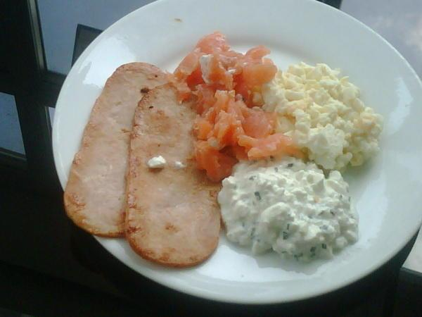 Lunch: 2 Turkey Rashers, using 1 boiled egg/Egg Mayo, tablespoon of cottage cheese with chives and onion, smoked salmon trimmings.