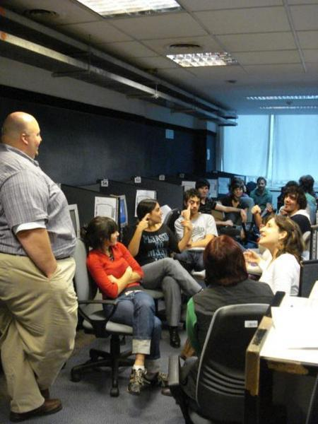 This is me in Argentina in May 2008 in front of a group of employees going through training on a program I was launching in the site (I am in telemarketing/customer service)
