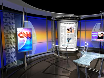 A set for CNN's Aaron Brown newscast.