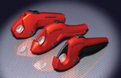 Three plastic pipe cutters
