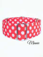 Minnie - Coral background with white polka dots