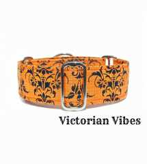 Orange Damask Martingale Dog Collar, Greyhound Dog Collar