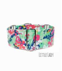 Green Floral Martingale Dog Collar, Greyhound Dog Collar