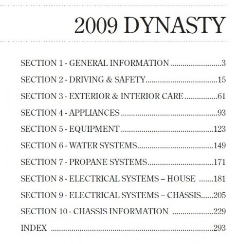 2009 Dynasty Owners Manual