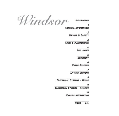 2002 Windsor Owners Manual