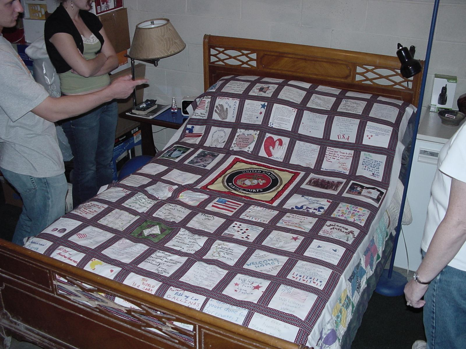 Our son's welcome home quilt from Iraq