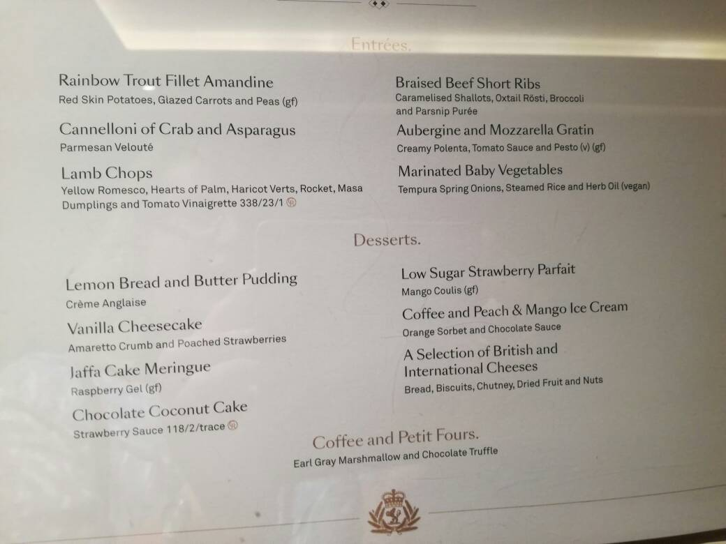 New Menus In Britannia Queen Victoria Cunard Line Cruise Critic Community