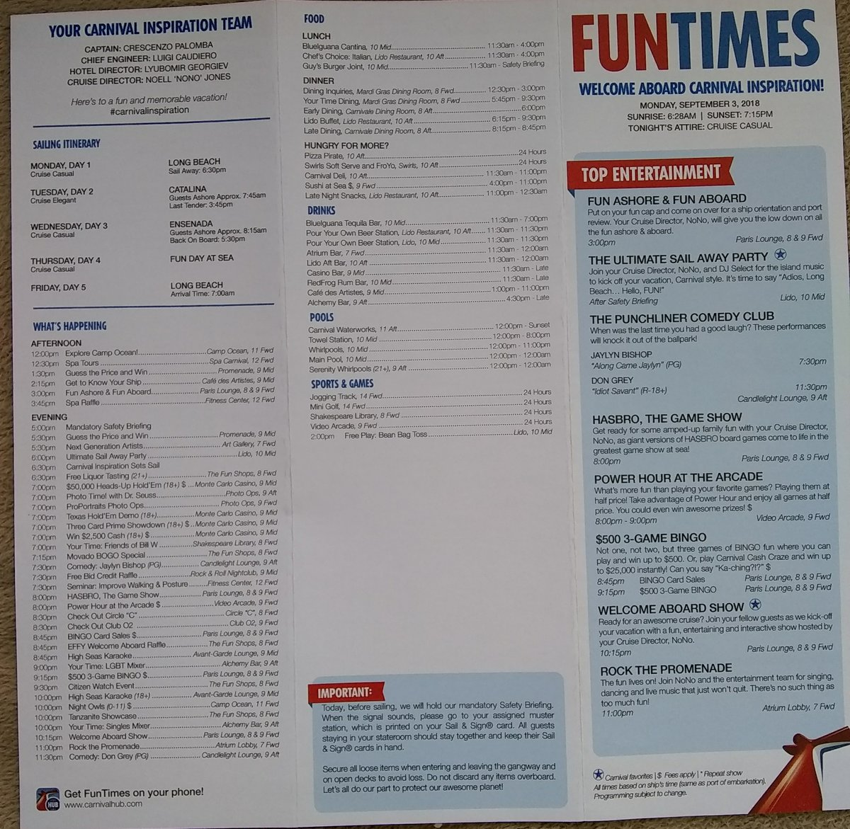 Carnival Inspiration Fun Times Daily Schedule Carnival Cruise Lines Cruise Critic Community
