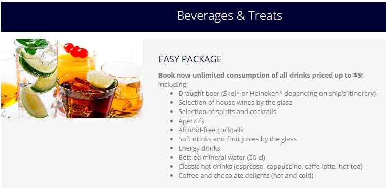 Which drinks are included in the new Easy Package? - MSC