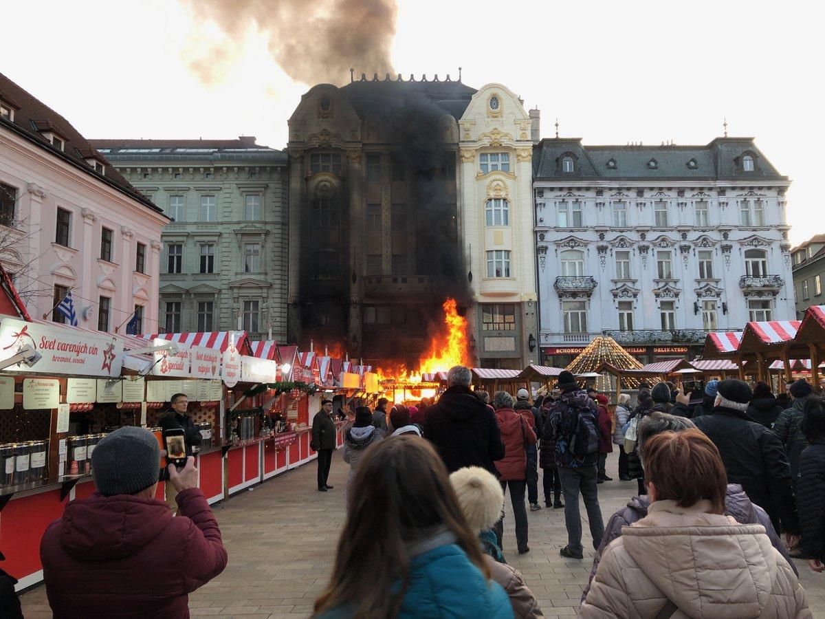 Christmas Bratislava.Fire At Bratislava Christmas Market River Cruising