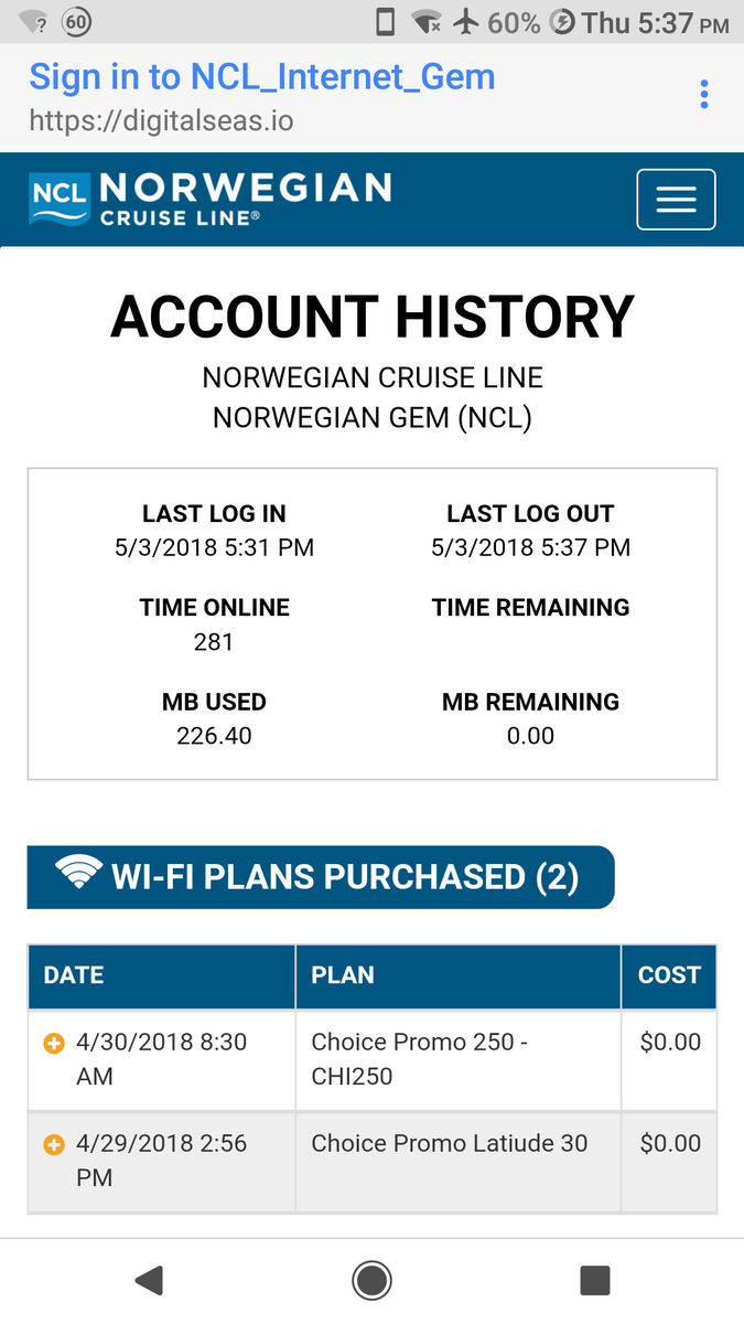 Internet package/platinum mins connection fee - Norwegian