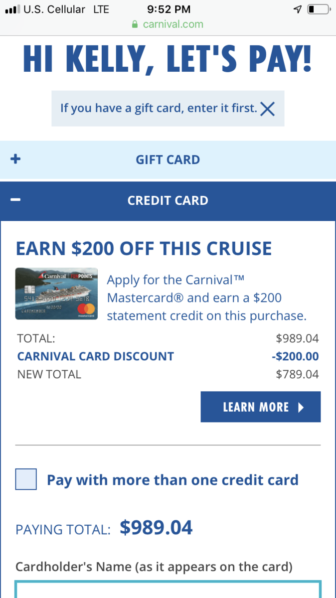 Carnival World Mastercard from Barclay Special Offer ?? - Carnival