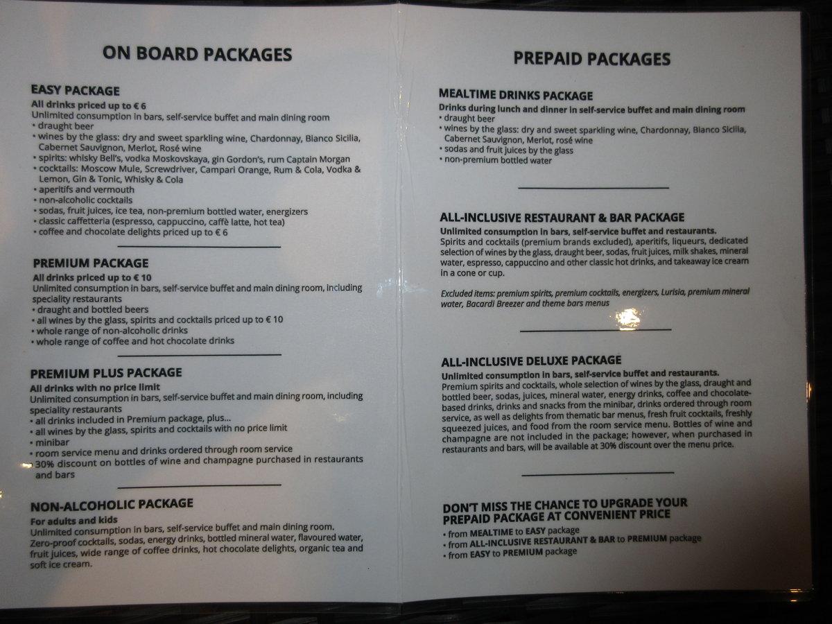 PREZIOSA - DRINKS PACKAGE INFO - MSC Cruises - Cruise Critic Community