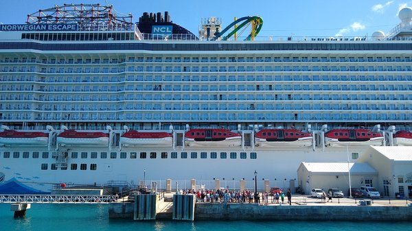 Bermuda NCL ferry's view of the Escape at Heritage Wharf