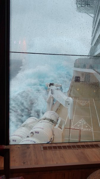 Escape at sea - view of the large waves at District Brew House, Deck 8 Portside