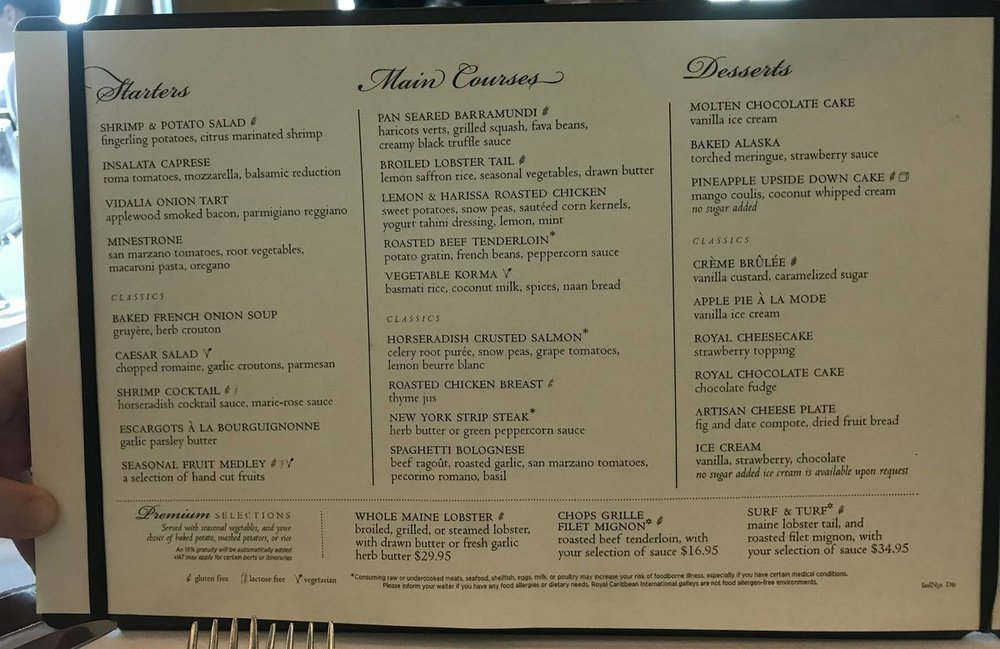 Royal Caribbean MDR Food Pictures and Menus - Cruise Critic