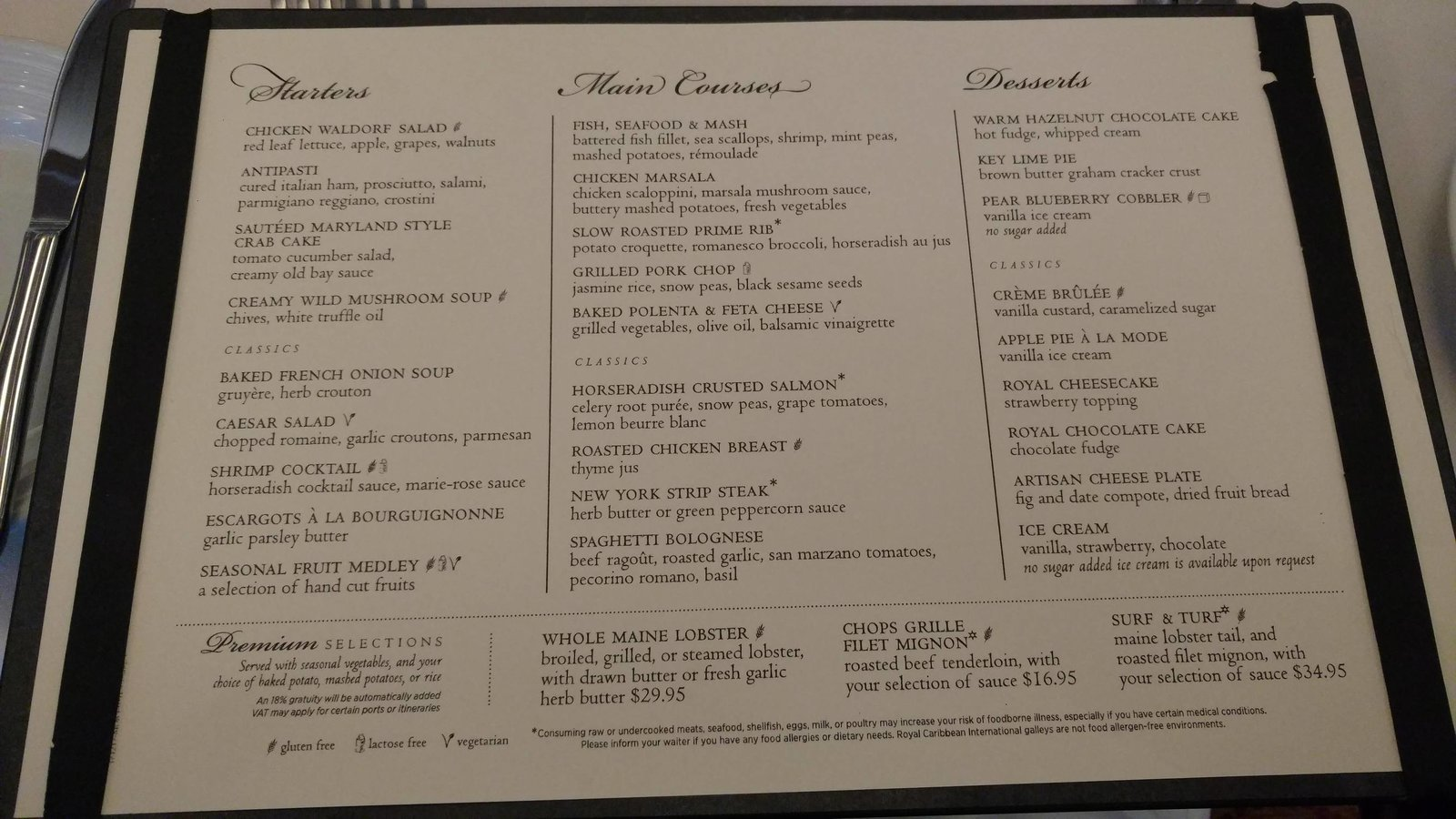 Rhapsody Menus - Day 1 Menu