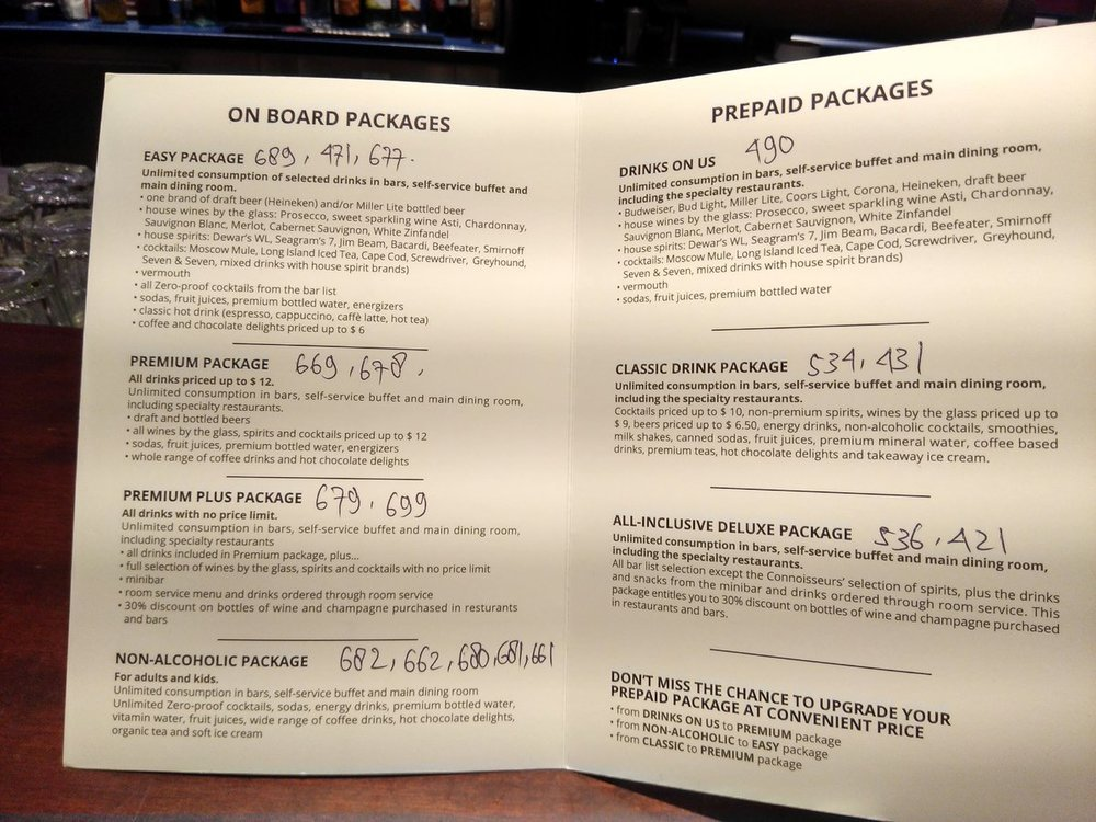 Drinks on us vs Easy Package - MSC Cruises - Cruise Critic