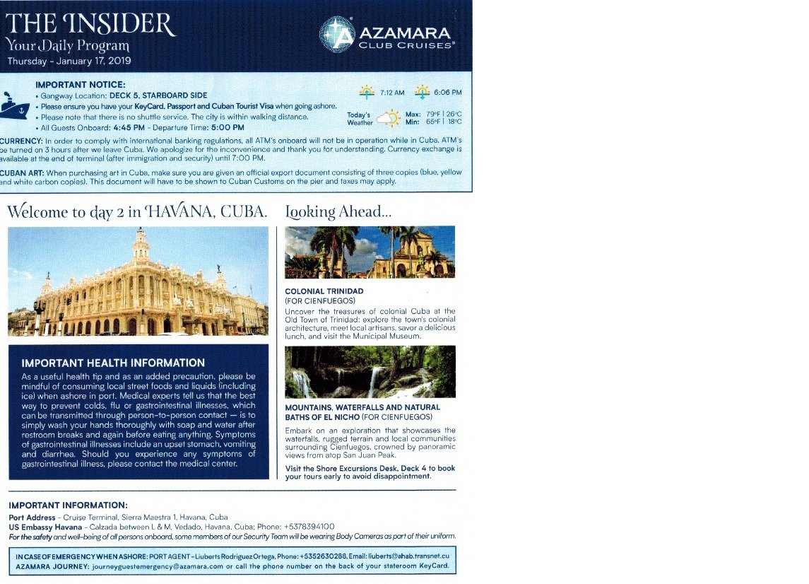 X cruiser sails Azamara to Cuba Jan 15 to 24 2019 - Page 16