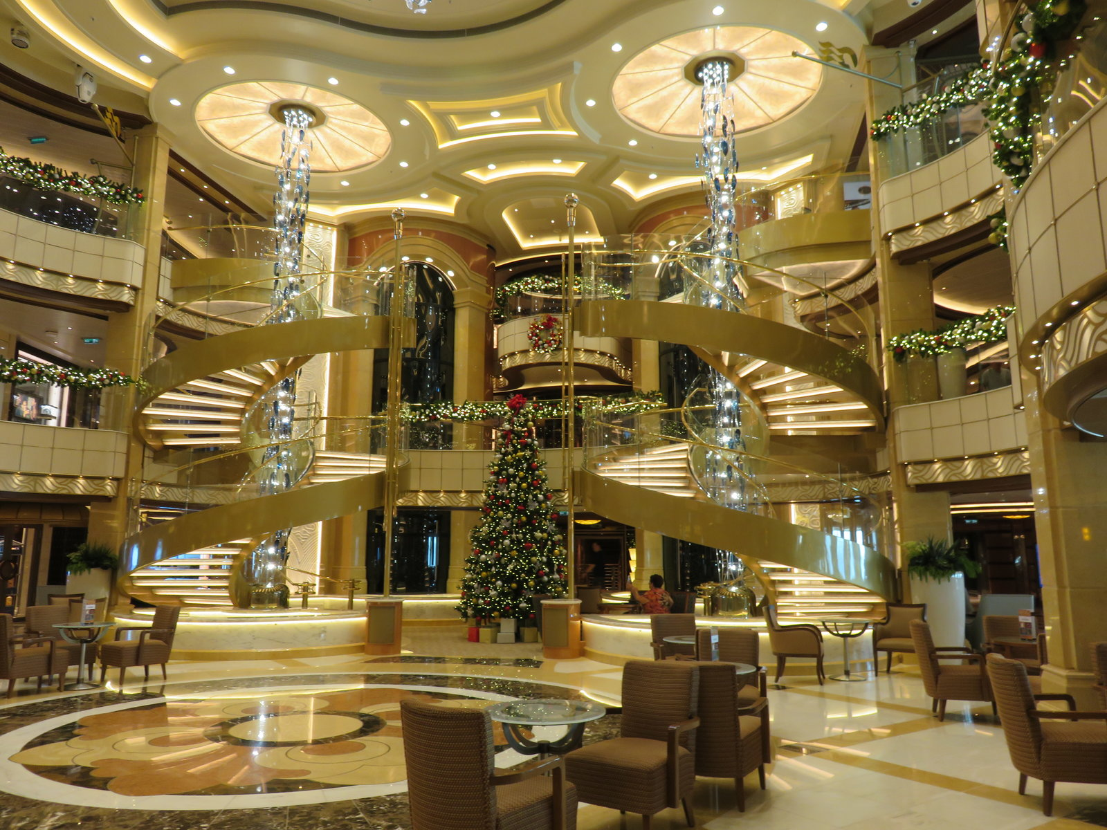 SKY Princess - Atrium - decorated for Christmas