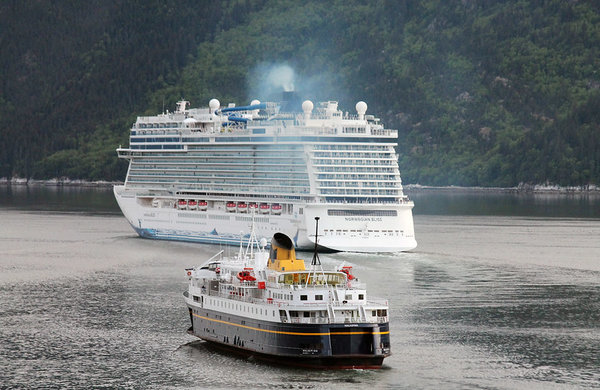05 AMHS MV Malaspina following Norwegian Bliss out of Skagway.jpg
